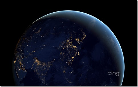 Composite image of Asia and Australia at night from space